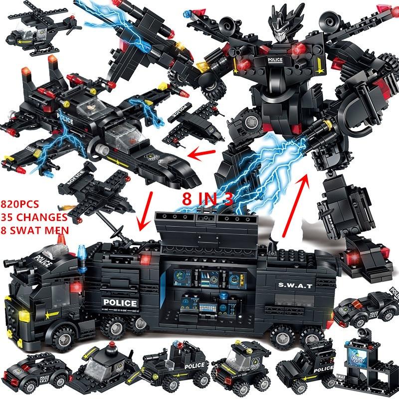 820PCS Boys Xmas Gifts Bricks Police Robot SWAT Truck Educational Juguetes Legoed Building Blocks Toys For Children Boys 8 In 3