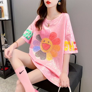 #0765 Shinny T Shirt Women Short Sleeve Loose Cotton Korean Style Print T Shirts Female O Neck Harajuku Summer Pink Purple White