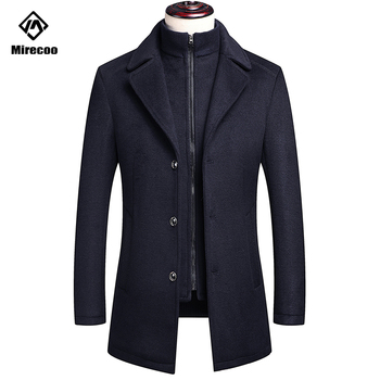 Mirecoo Wool Coat Men Thick Overcoats Topcoat Mens Single Breasted Coats And Jackets With Adjustable Vest Fashion 2 Color XS-XL