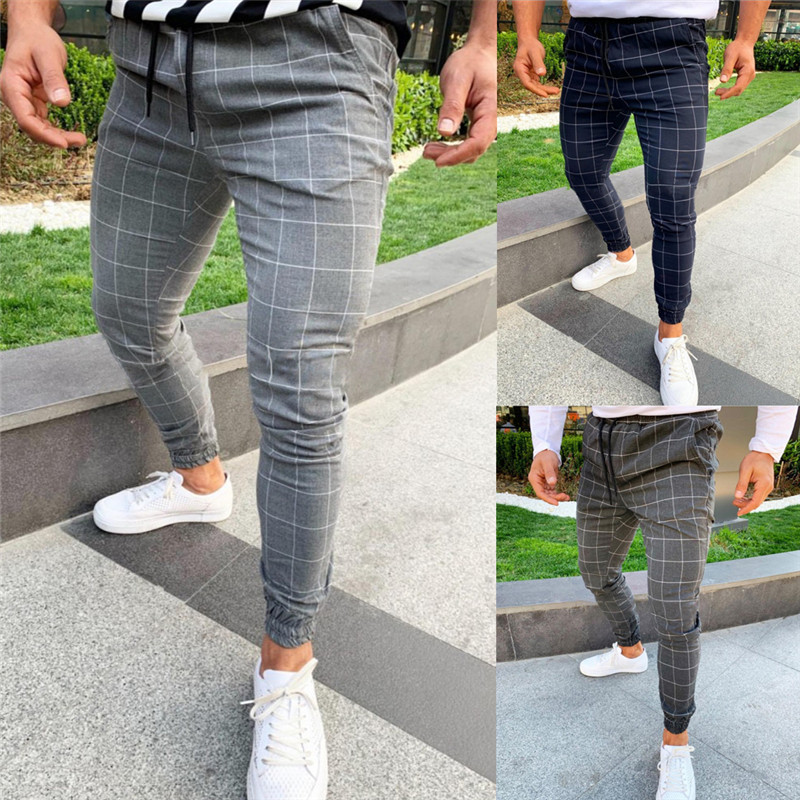 Brand Pants Men Casual Elastic Long Trousers Plaid Casual Slim Fit Ankle Length Classic Vintage Jogger All-match Trousers