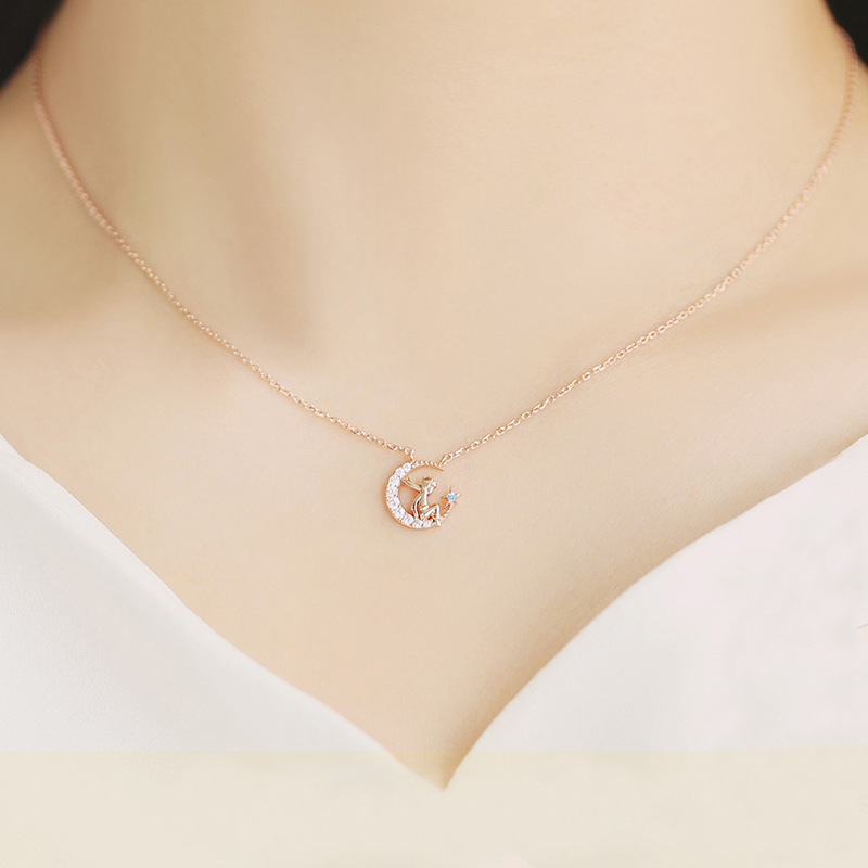 Image 3 - Herwish The Little Prince Pendant Necklace 925 Sterling Silver Bling Ziconia Figure Rose Link Chain Necklaces Women Jewelry-in Pendant Necklaces from Jewelry & Accessories