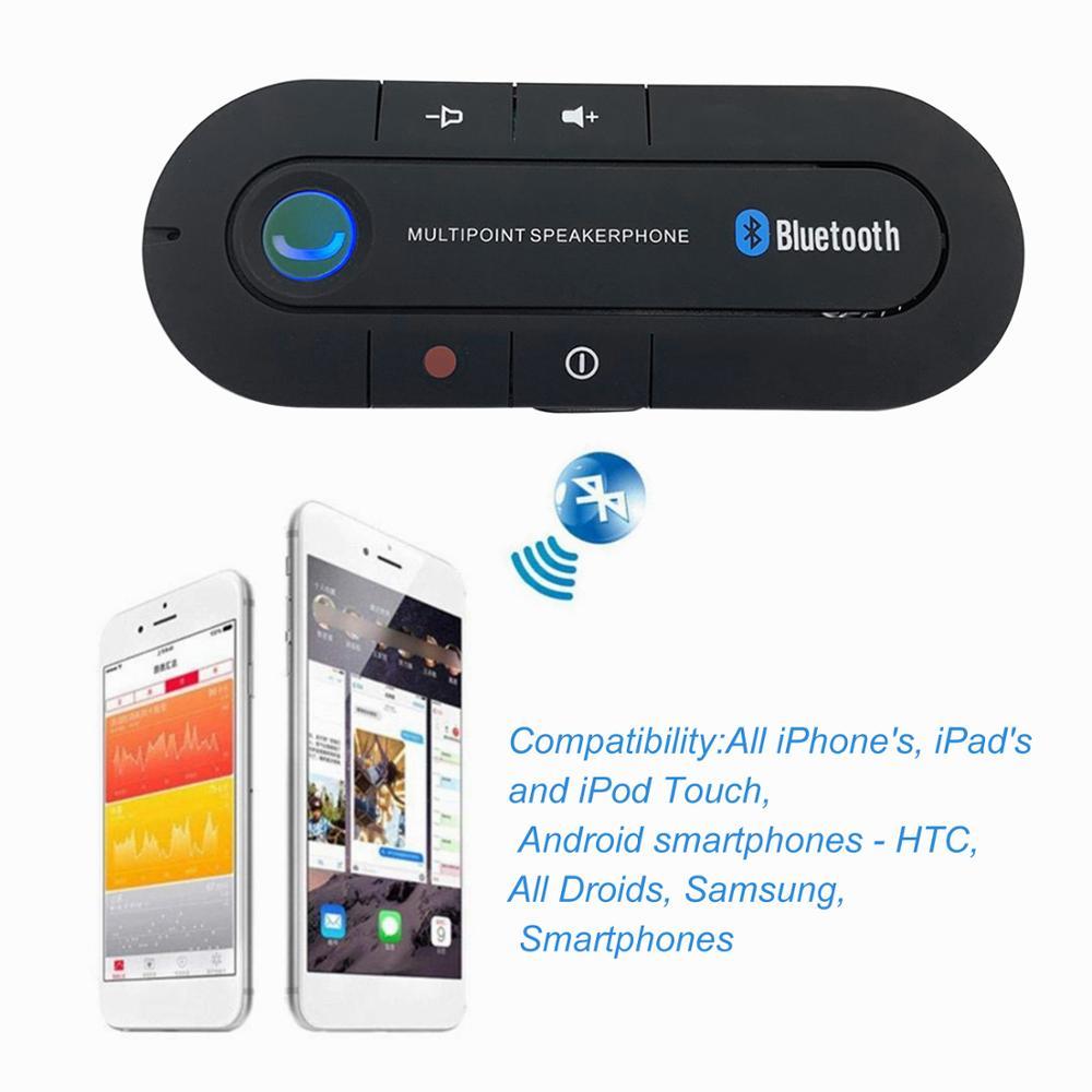 Bluetooth Handsfree Car Kit Wireless Bluetooth Speaker Phone MP3 Music Player Sun Visor Clip Speakerphone with Car Charger