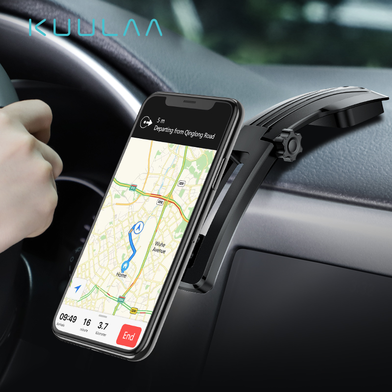 KUULAA Magnetic Car Phone Holder For IPhone Samsung Foldable Mount Mobile Phone Holder For Dashboard Paste Car Holder Stand