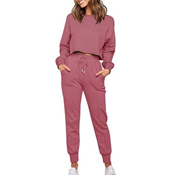2021 jesień i zima nowa rozrywka moda jednolity kolor z długim sweter z rękawami spodnie dwuczęściowy sport i rozrywka garnitur dla kobiet tanie i dobre opinie EASY GARMENT COTTON REGULAR CN (pochodzenie) Na wiosnę jesień Z KIESZENIAMI Na co dzień Bluzy z kapturem WOMEN Stałe
