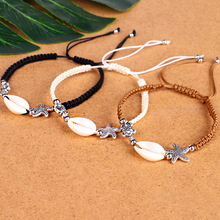 Natural Shell Beads Bracelet For Women Starfish Sea Turtle Charm Handmade 3 Colors Rope Adjustable Size