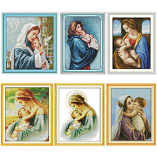 Cross Stitch Kit Madonna and Child Patterns Counted 11CT 14CT Stamped  Printed Canvas Needlework Embroidery Needlework Decor Set