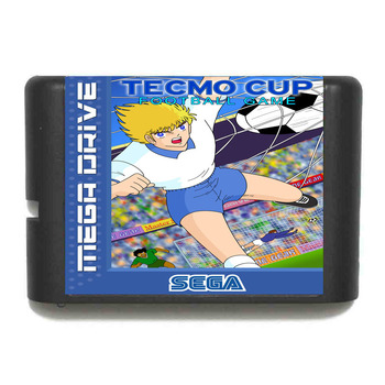 El más nuevo cartucho de juego de fútbol de la Copa Tecmo de capitán tsuasa, tarjeta de juego de 16 bits para el sistema Sega Mega Drive / Genesis