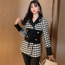 2018 Fall Winter Coat New Fashion Blazer Feminino Long Sleeve Double Breasted Patchwork Denim