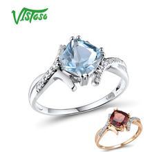 VISTOSO Gold Rings For Women Genuine 14K 585 White Gold Ring Sparkling Diamond Sky Blue Topaz Wedding Anniversary Fine Jewelry