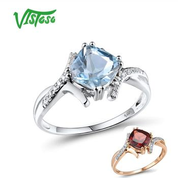 VISTOSO Gold Rings For Women Genuine 14K 585 White Ring Sparkling Diamond Sky Blue Topaz Wedding Anniversary Fine Jewelry