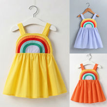 Girl Dress Toddler Infant Baby Girls Summer Clothes Strap Rainbow Short Sundress 1-5Y