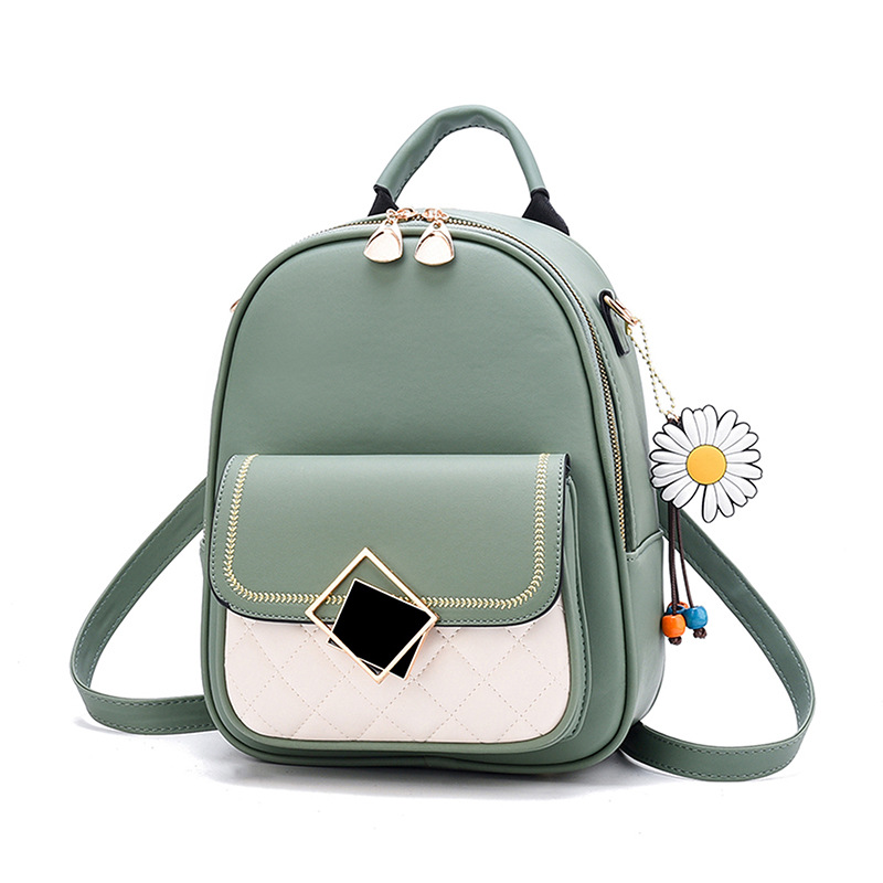 Backpack Women 2021 New Solid Color Small Backpack Girl Cute Casual PU Leather Backpack  Female Bagpack