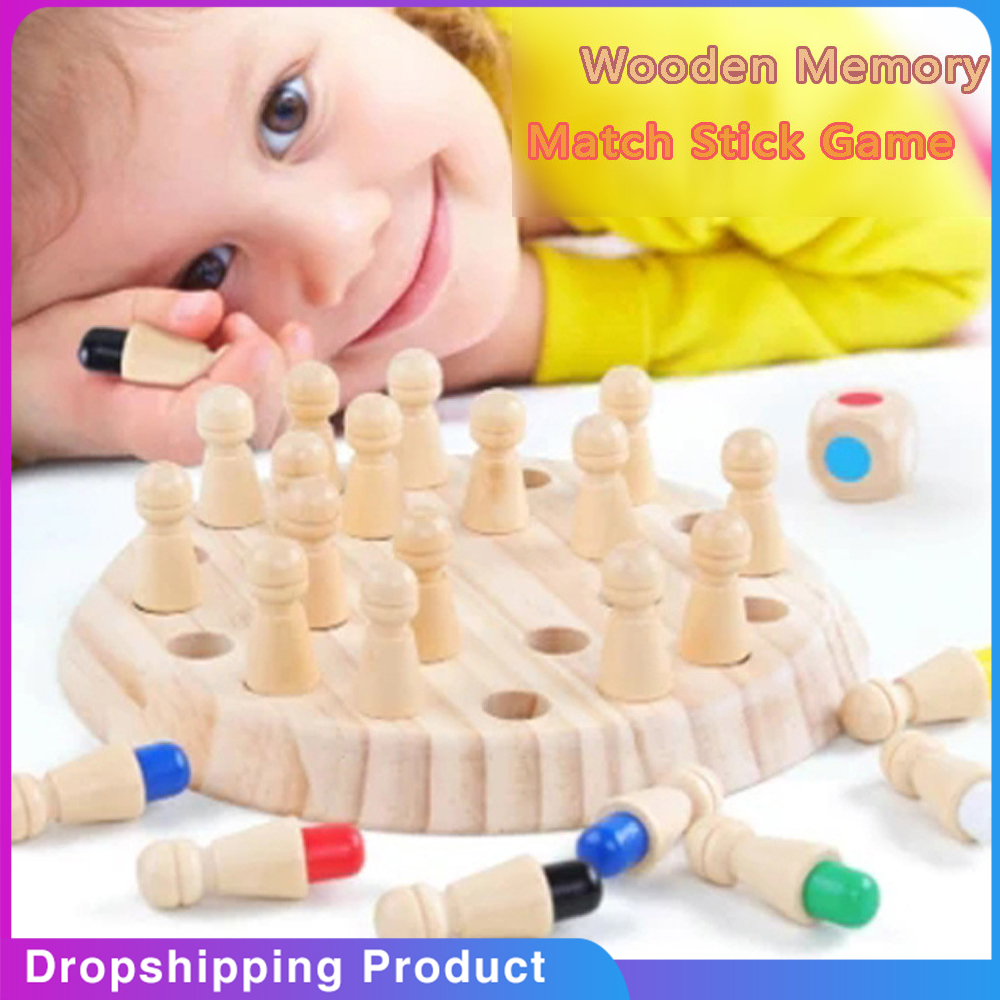 Wooden Memory Match Stick Chess Game Kids Fun Block Board Game Educational Color Cognitive Ability Family Toy juegos de mesa(China)
