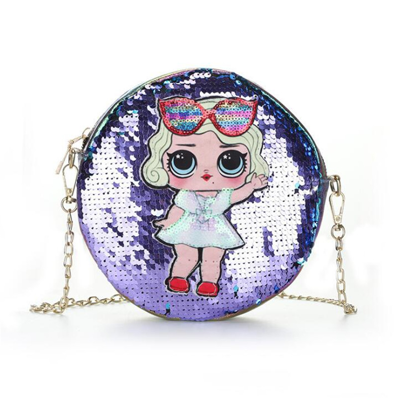 Cute Sequin Look LoL Dolls Pattern Backpack Coin Purse Mobile Phone Bag Action <font><b>Figure</b></font> LoL Surprise Children Birthday Gifts image