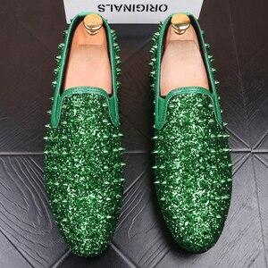 Image 2 - Zapatos de diseño italiano para hombre, banquete de baile de graduación, estampado de remaches, plataforma plana, estilo hip hop