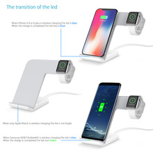 for iPhone X Apple Watch iWatch  2In1 Qi Wireless Fast Charger Holder Stand For iphone XR XS Max