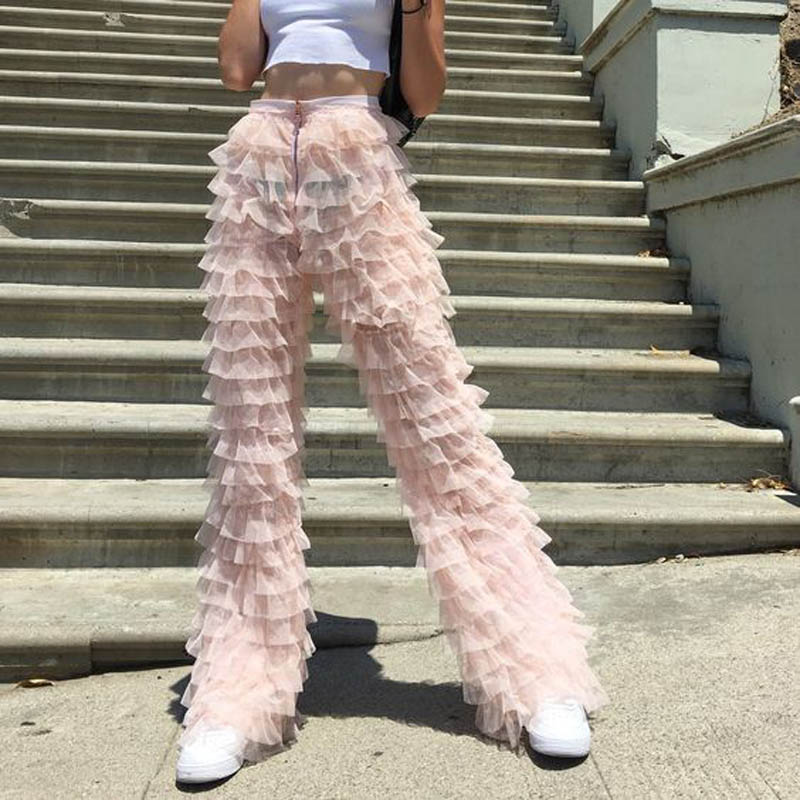 Chic Tiered Tulle Pants For Women Layered Tiers Pink Tulle Women Pants Street Stylish Fashion Ladies Long Trousers