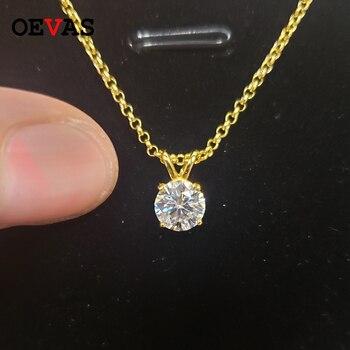 Oevas real 1 quilates d cor moissanite pingente para mulher 18k banhado a ouro 100% 925 prata esterlina festa de casamento jóias finas presente 1