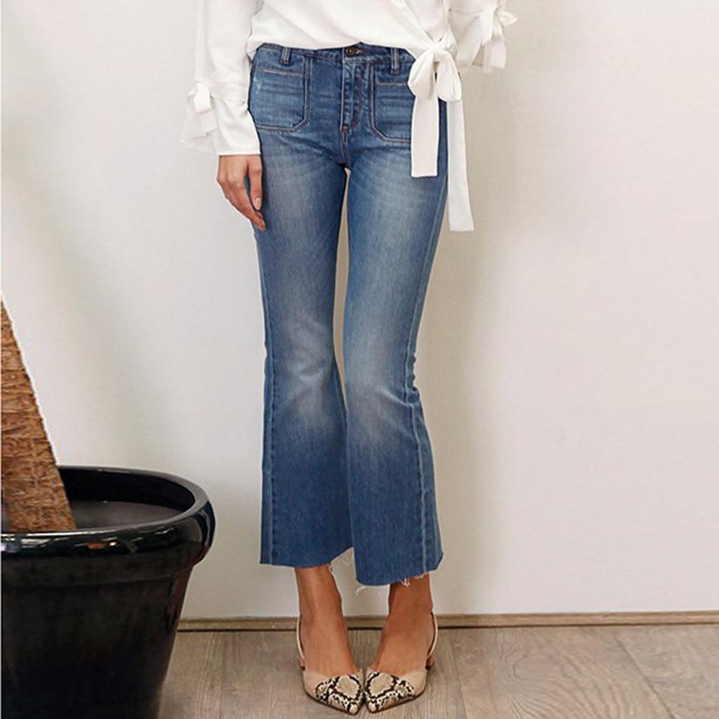 SAGACE Pants Fashion Womens 2020 Autumn Winter Casual Button Zipper Pocket Jeans Casual Sexy Denim Loose Flare Pants Trouser #45