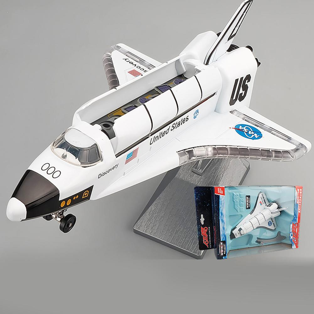 Diecast Space Shuttle Plane Pull Back Model With Sound Light Display Stand Toy Used For Collection As Gift To Friends And Family