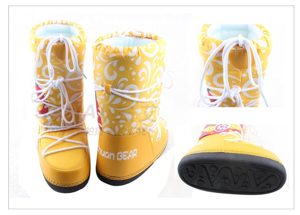 De niños de cuero genuino botas de nieve de invierno de 2019 niñas de lentejuelas zapatos de algodón chico Barco de bebé de terciopelo de algodón cálido botas - 4