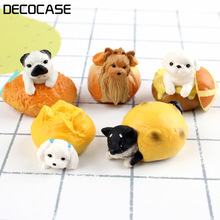 DECOCASE 5pcs/lot Mini Bread Dog Puppy Slime Charm Bead Headwear Flatback Crafts Ornaments Decoration Phone Case DIY Accessories