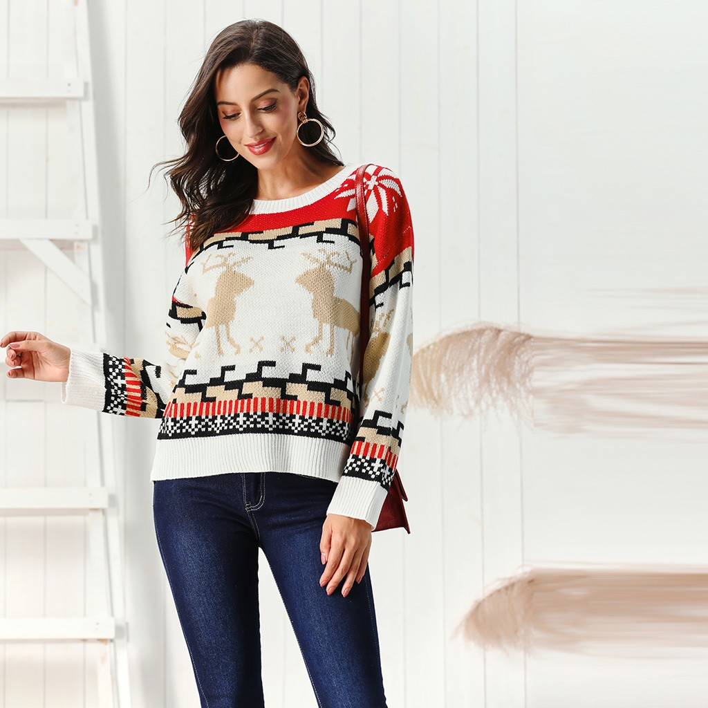Sweater Christmas Women Deer Snowflake Embroidery Merry Xmas Knitted Pullover Jumper Top Autumn Winter Sueter Mujer