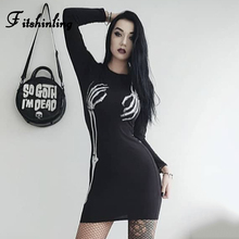 Fitshinling 2019 Goth Dark Skull Print Slim Bandage Dress Harajuku Elasticity Hot Sexy Party Dresses Punk Cotton Soft