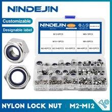 NINDEJIN 321pcs Nylon Lock Nut 304 Stainless Steel M2 M2.5 M3 M4 M5 M6 M8 M10 M12 Hex Hexagon Self locking Nut Assortment Kit