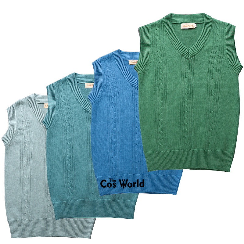 4 Colors S-XXL Spring Autumn Sleeveless Knit Vests Pullovers V Neck Sweaters For JK School Uniform Student Clothes