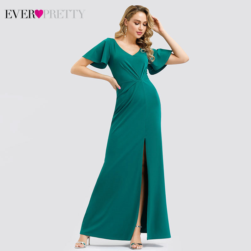 Sexy Turquoise Prom Dresses Ever Pretty EP00961TQ Mermaid Side Split Ruffles Short Sleeve V-Neck Simple Party Gowns Gala Jurken