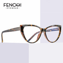 FENCHI-Gafas de ojo de gato transparente TR90 para ordenador, lentes transparentes con bloqueo de luz azul para juegos