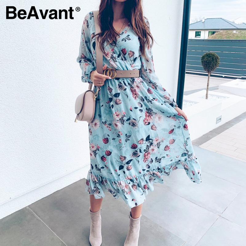 BeAvant Blue Long Sleeve Women Boho Dress Floral Print Vintage Dresses Ruffles Female Summer Holiday Casual Dress Vestidos 2020