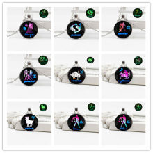 New jewelry retro crystal glass silver-plated luminous necklace twelve constellations full set