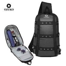 OZUKO New Rivet Shoulder Bag Man Chest Pack Waterproof iPad Sling Anti-theft Short Trip Messenger Crossbody Bags for Men