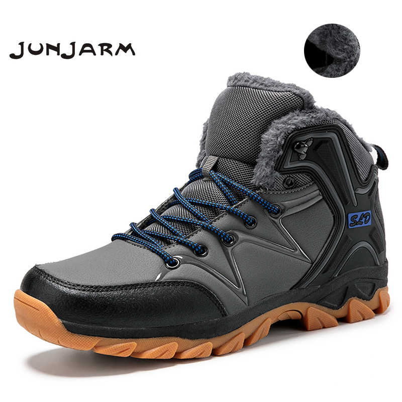 JUNJARM Warm Plush Men Boots 2019 Warm Snow Boots Men Leather Waterproof Winter Boots Work Shoes Men Sneakers Ankle Boots