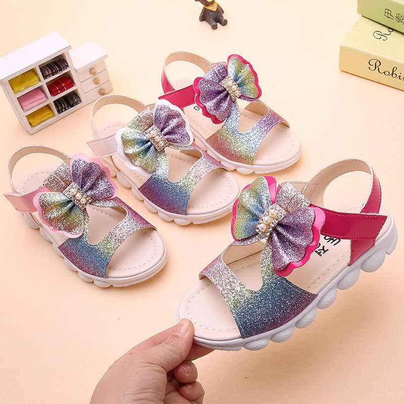 ฤดูร้อนเด็กโบว์โบว์เจ้าหญิงสบายๆผีเสื้อไข่มุกคริสตัล Paillette รองเท้าเด็กรองเท้า