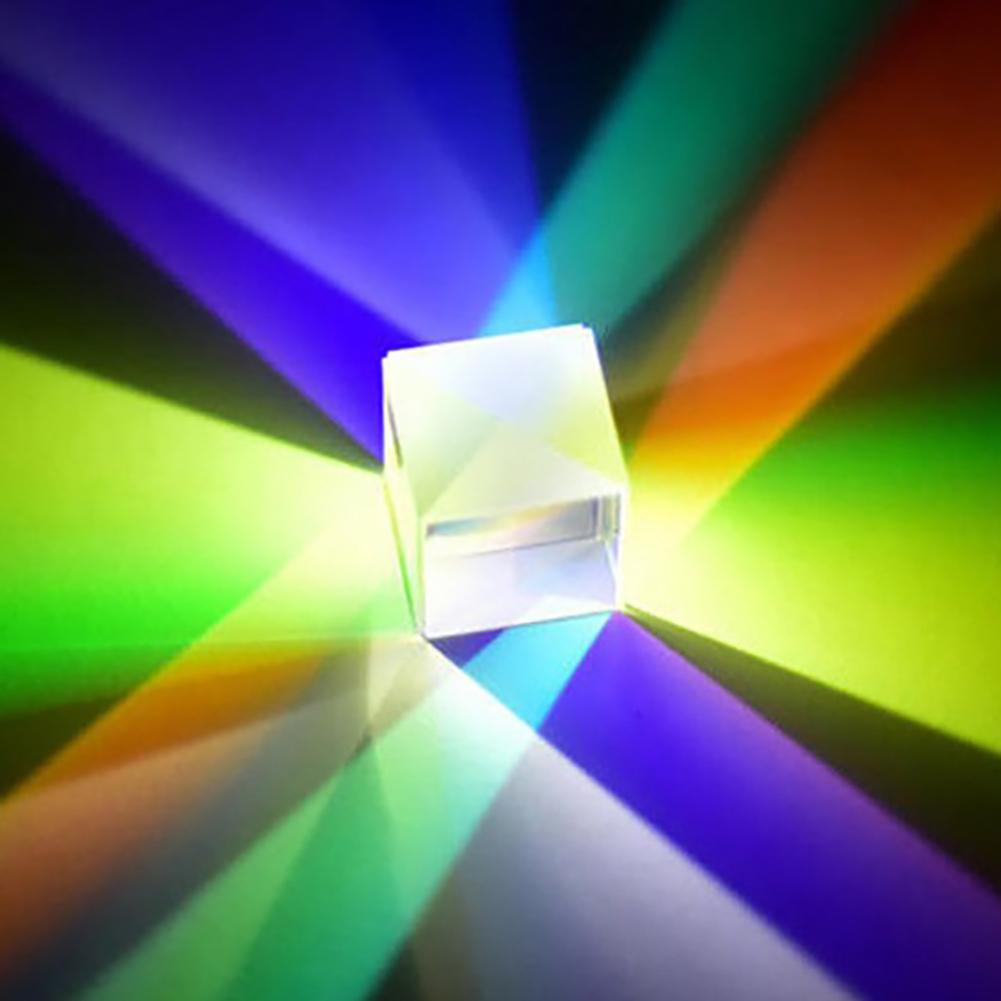 Six-Sided Bright Light Cube Stained Glass Prism Beam Splitting Prism Optical Experiment Instrument Optical Lens