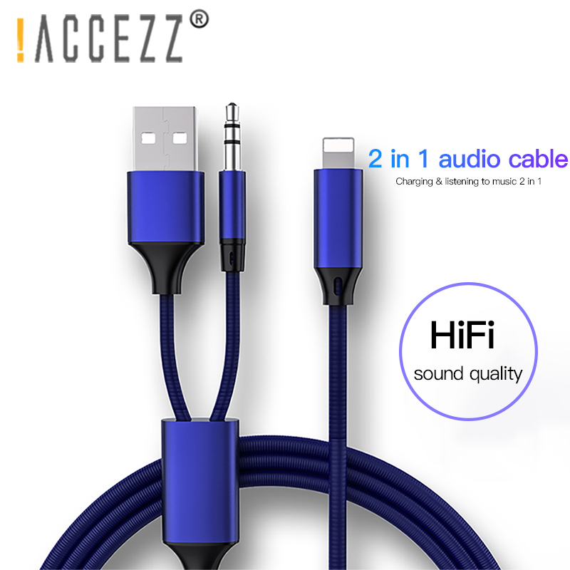 !ACCEZZ 2 In 1 AUX Audio Cable For Iphone 7 8 Plus X XS MAX 3.5mm Jack Headset Connector Car Charging Listening Speaker Adapter