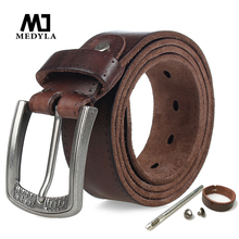 MEDYLA Brand Natural Leather Belt Men Retro Hard Metal Buckle Soft Italian Leather Mens Jeans Belt Mens Accessories Gift