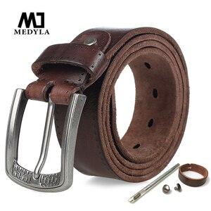 Image 1 - MEDYLA Brand Natural Leather Belt Men Retro Hard Metal Buckle Soft Italian Leather Mens Jeans Belt Mens Accessories Gift