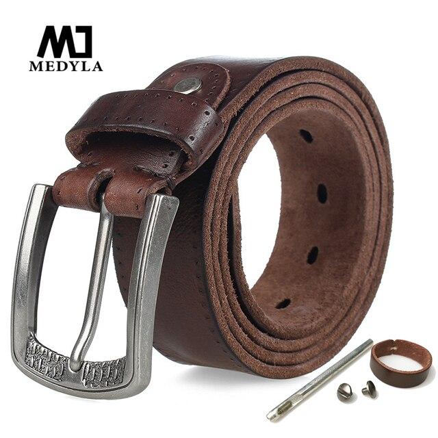 MEDYLA marka doğal deri kemer erkekler Retro sert Metal toka yumuşak İtalyan deri erkek kot kemer erkekler aksesuarları hediye