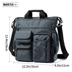 Moyyi bolsa de ombro homens mensageiro sacos crossbody para portátil estilo casual multi-função bolsos saco