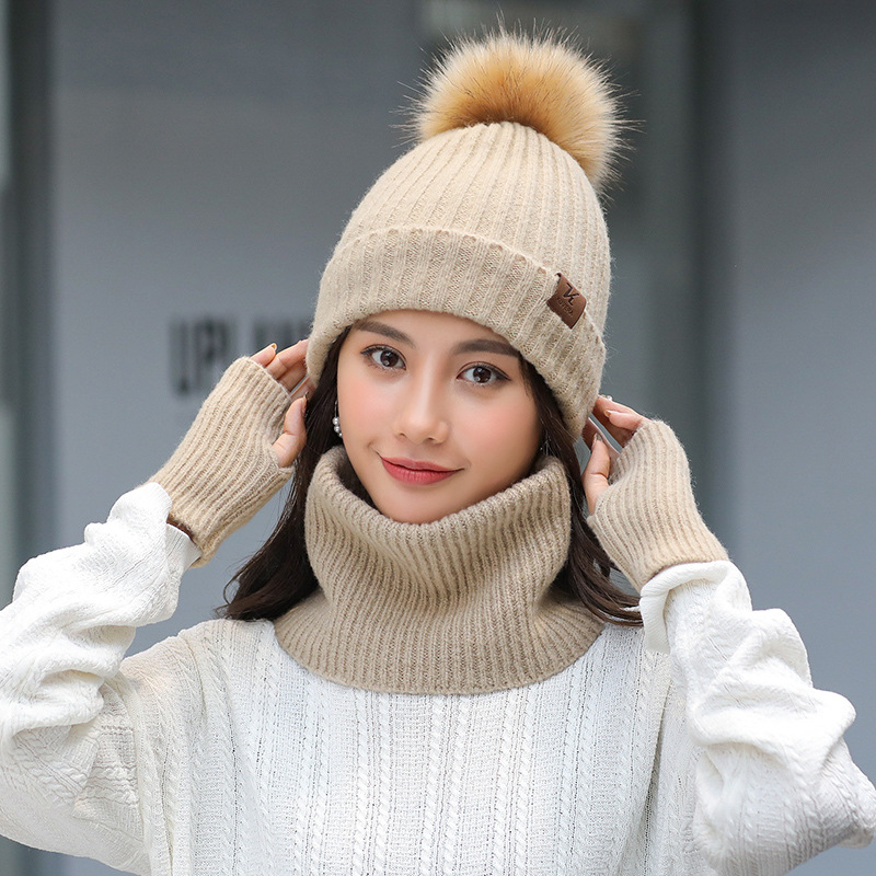 Knitted Women's Winter Scarf Hat Gloves Set Three Pieces Girls Warm Pom Pom Balls Beanies Caps Soft Scarf Female For Girls Gift