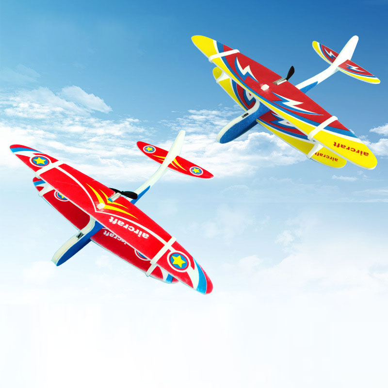 Electric Plane LED EPP Foam Airplane Hand Launch Throwing Glider Aircraft Model Outdoor Kids Educational Toy Children Adult Gift