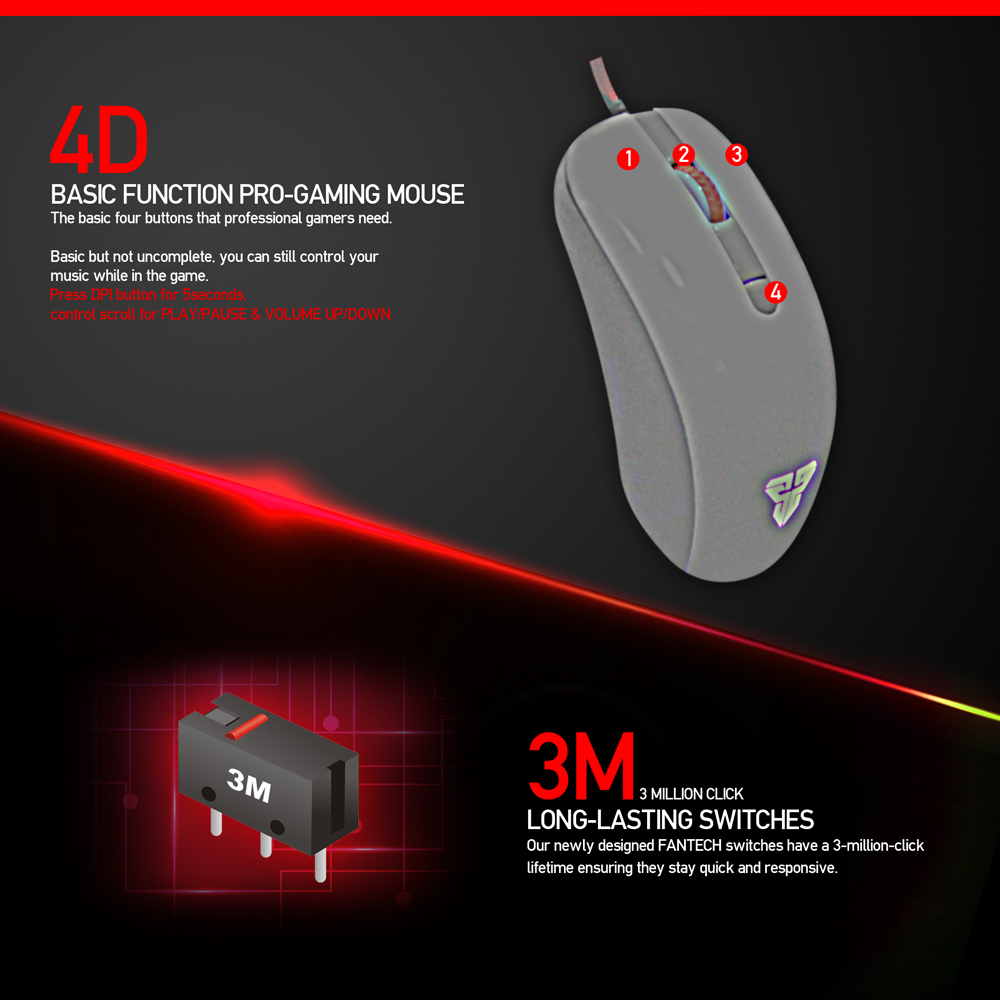 Image 2 - FANTECH G10 Professional Gmae Cable Mouse Adjustable 4800 DPI RGB 4 Button Optical mouse gaming for PC Notebook Game mice-in Mice from Computer & Office