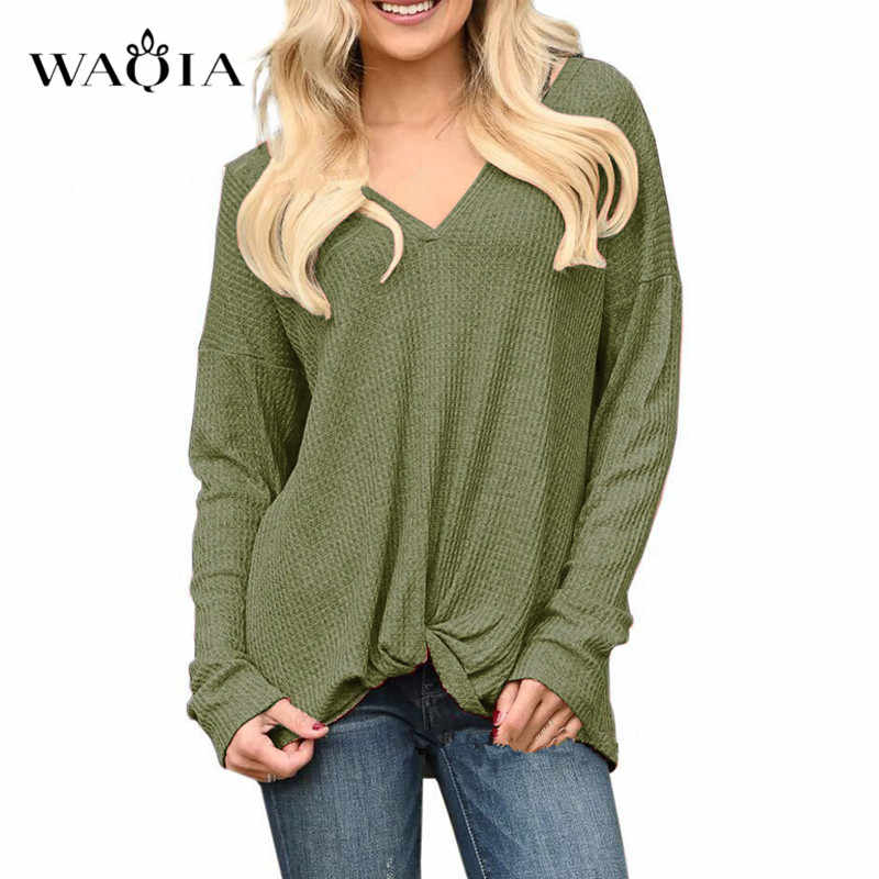 Mujeres cuello en V sólido tejido Jersey otoño manga larga suéter mujer Waffle Knit Twist Knot Tops suelta Casual túnica Tops