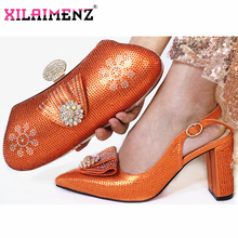 Orange High Quality Woman Luxury Crystal Shoes And Purse Set For Party African Rhinestone High Heels Wedding Shoes And Bag Set