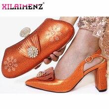 Orange haute qualité femme luxe cristal chaussures et sac à main ensemble pour fête africaine strass talons hauts chaussures de mariage et sac ensemble