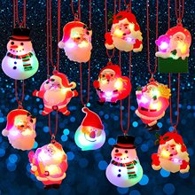 METABLE 12 PCS Holiday Flashing Light Necklaces Soft  Necklace LED Pendant for Kids Party Christmas Decoration Random